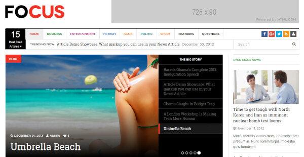 Focus – HTML 5 WordPress Theme
