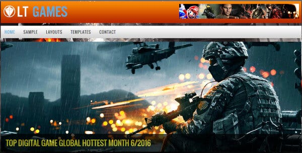 12 lt games games wordpress theme preview full page