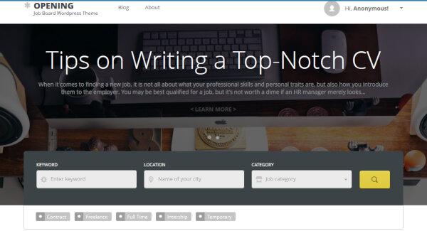 16 opening job board wordpress theme