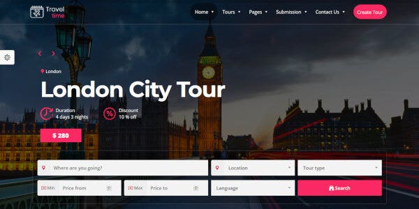 TravelTime – Full-Screen Banner WordPress Theme