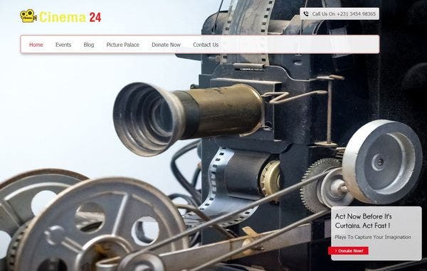 Cinema 24 – Service Section Ready WordPress Theme