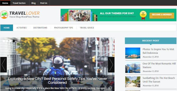 TravelLover – Ink Leads Capture Pro Plugin WordPress Theme