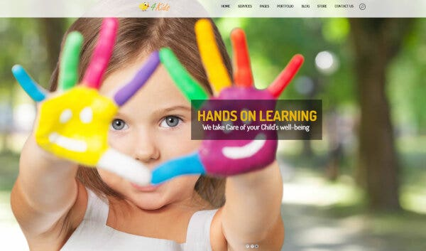 21 homepage with parallax – 4kids