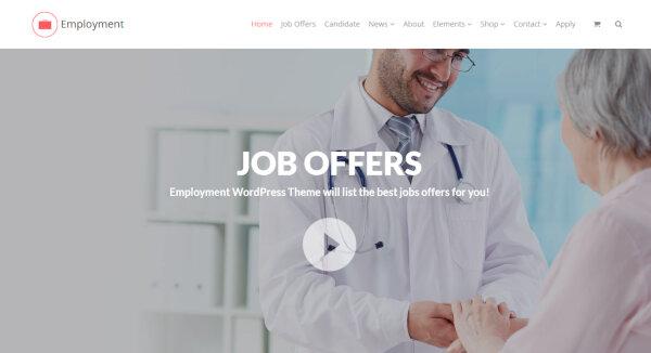 Employment – Vertical Navigation Menu Integrated WordPress Theme