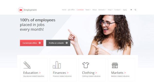 4 candidate employment wordpress theme