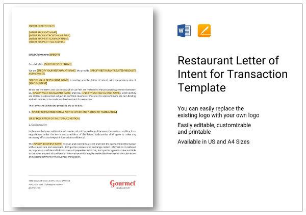 411 restaurant letter of intent for transaction 1