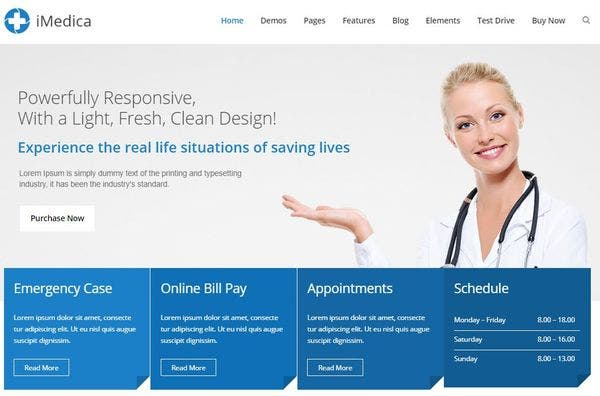 iMedica – Multiple Demo pages WordPress Theme