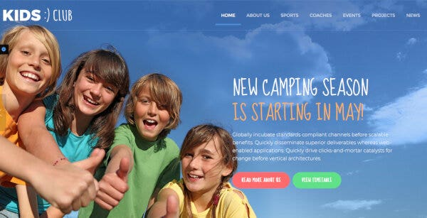5 camp – kids club wordpress theme