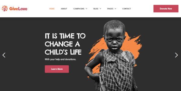 5 givelove – non profit charity crowdfunding wordpress theme
