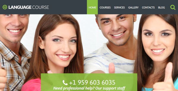 Language Course – Parallax WordPress Theme