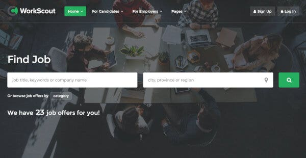 WorkScout – WP Job Manager Plugin Featured WordPress Theme