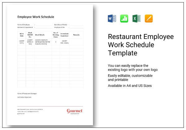 662 restaurant employee work schedule 1