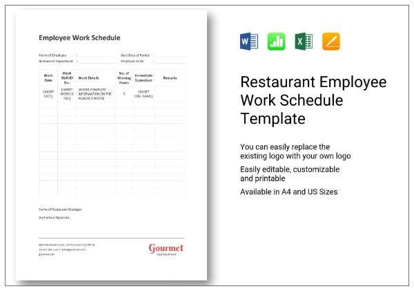 662 restaurant employee work schedule 11