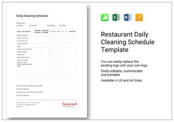665 restaurant daily cleaning schedule 1