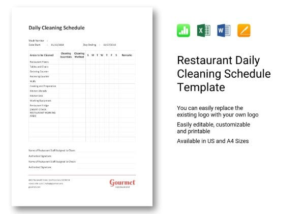 665 restaurant daily cleaning schedule 11