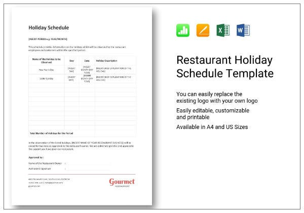 669 restaurant holiday schedule 1