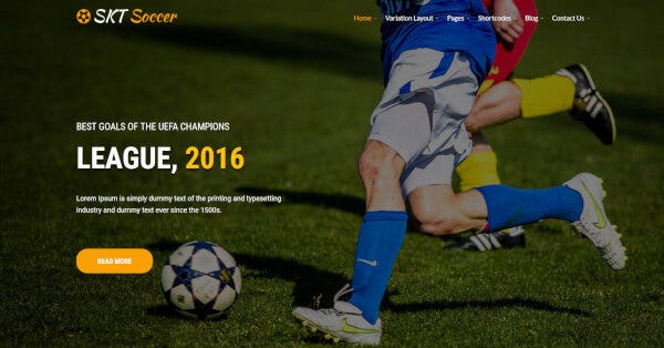 Soccer -Slider Ready WordPress Theme