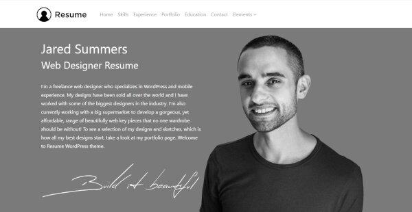 Resume – Slider Revolution WordPress Theme