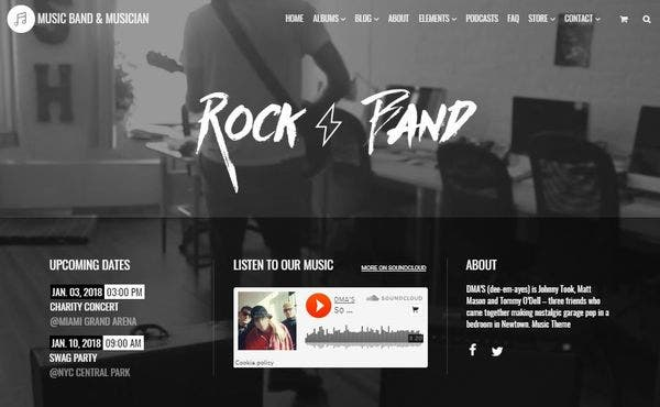 Music – Visual Elements Plugin WordPress Theme