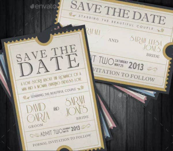 admission ticket for save the date