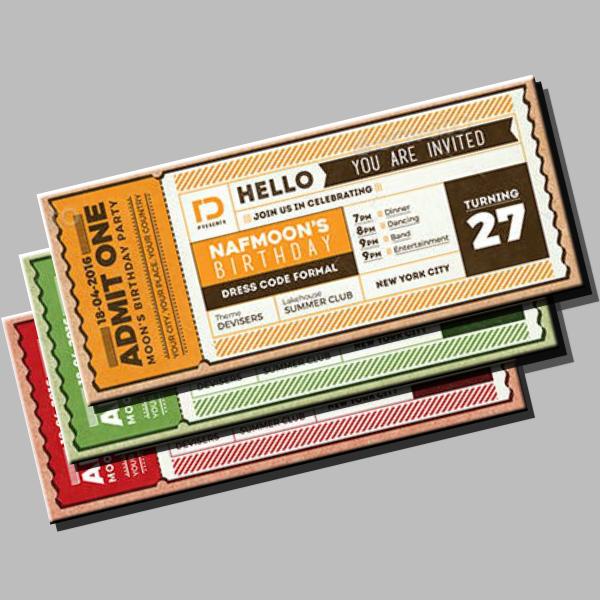 admit one invitation ticket sample