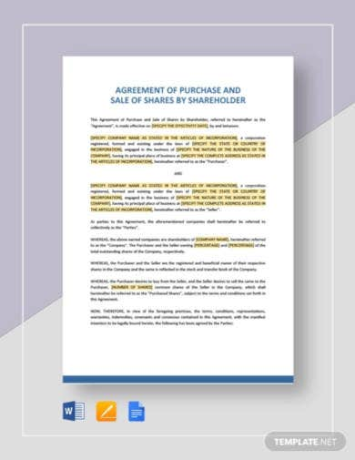 agreement of purchase and sale of shares by shareholder