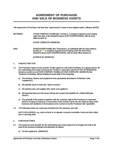 agreement sale of business assets