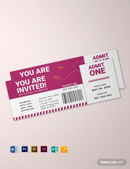 airline birthday party ticket example