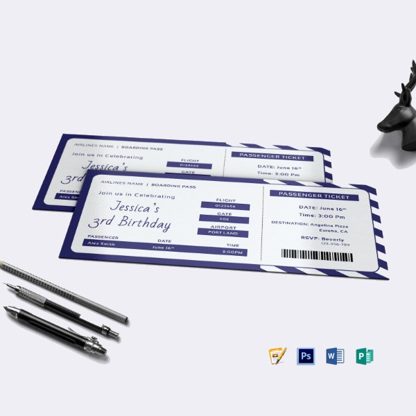 airline ticket birthday invitation template