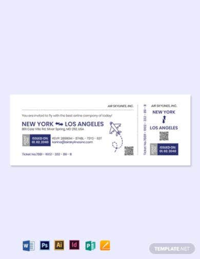 airline ticket invitation template