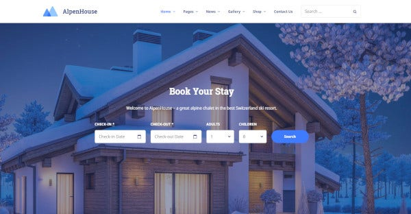AlpenHouse -Hotel Booking Plugin Installed WordPress Theme