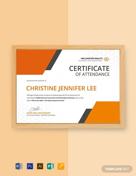 annual meeting attendance certificate template