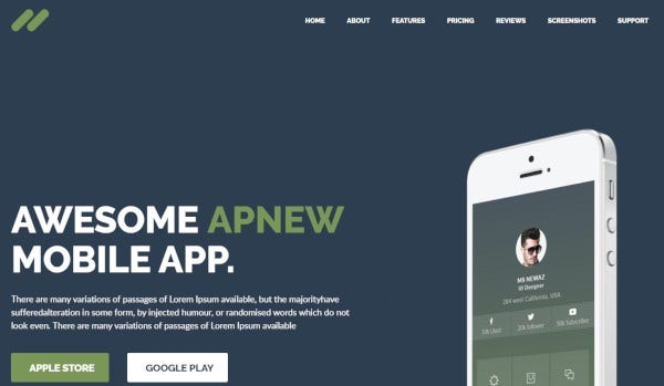 apnew landing page wordpress theme