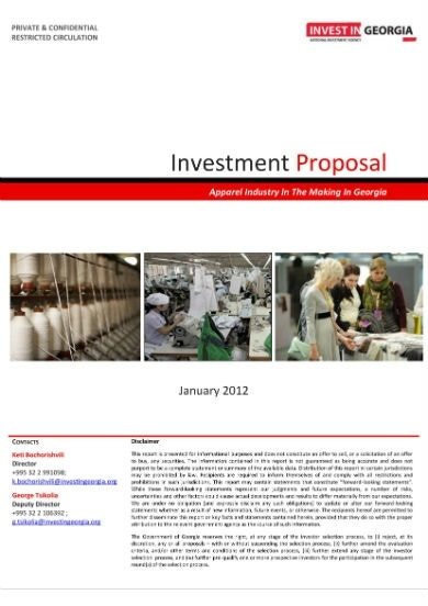 apparel sector investment proposal 011