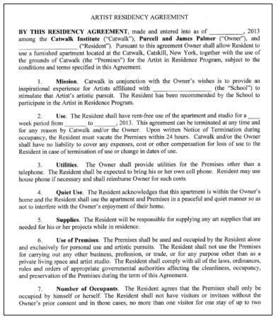 artist residency agreement template
