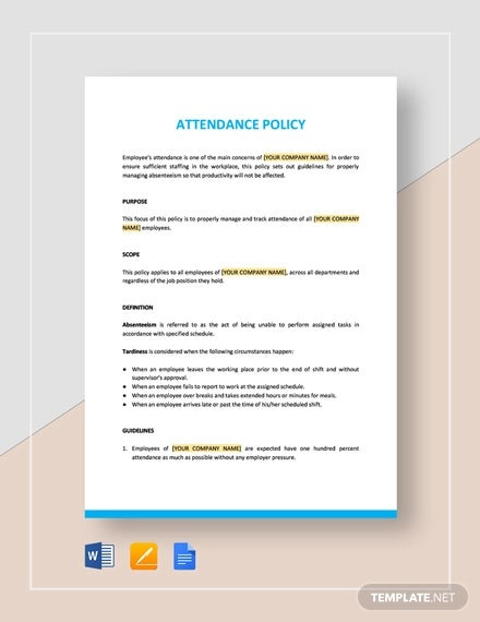 13+ Attendance Policy Templates - Free PDF Format Download | Free