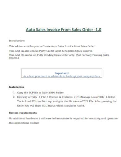 auto sales invoice sample