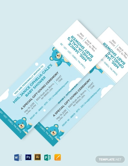 baby shower ticket invitation example