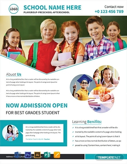 back to school admission flyer template