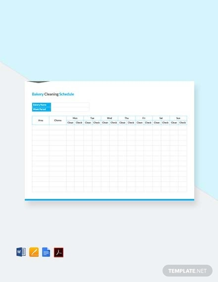 bakery cleaning schedule template