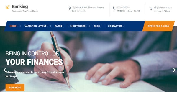banking multilingual wordpress theme