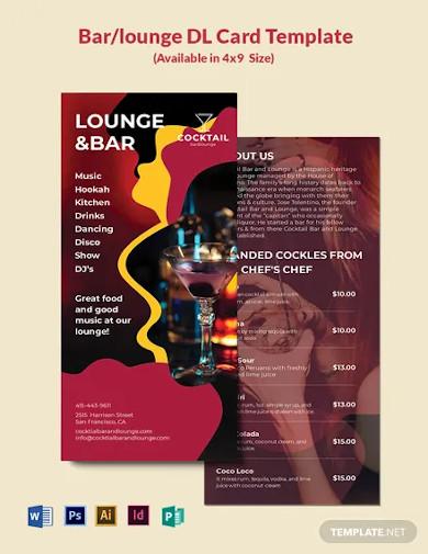 bar lounge dl card template