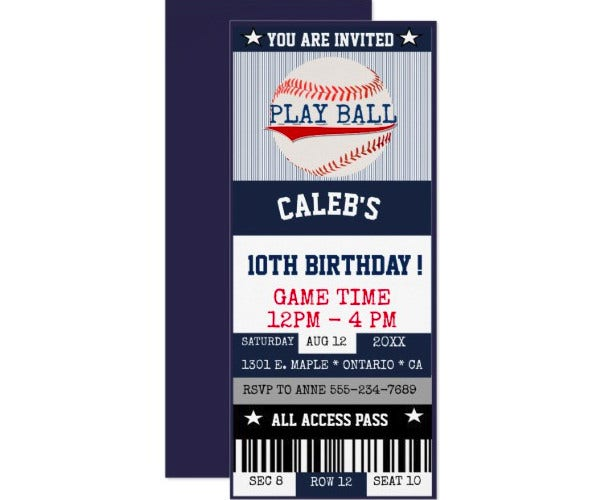 basebal ticket invitation