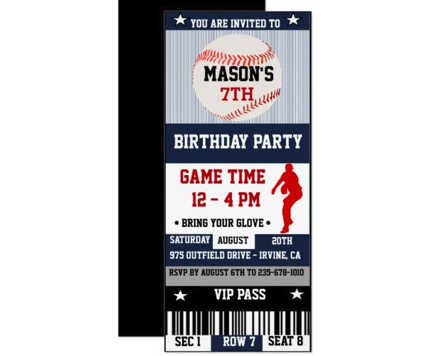 baseball birthday ticket