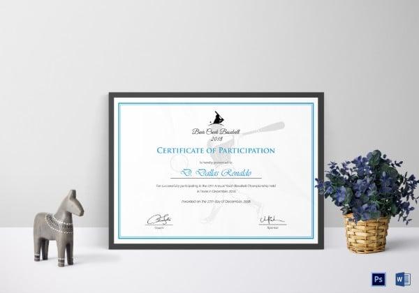 baseball participation certificate2