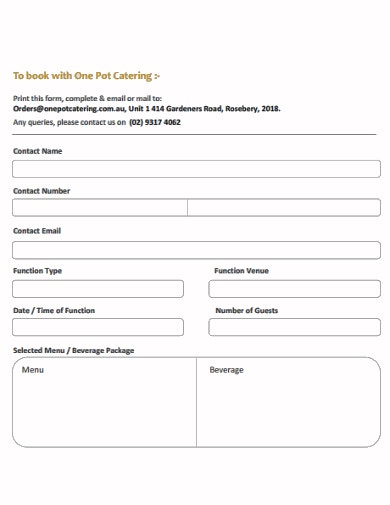 basic catering booking form