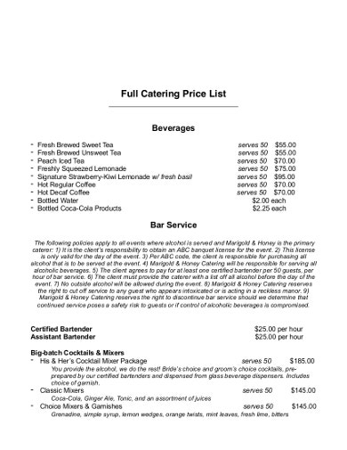 basic catering price lists