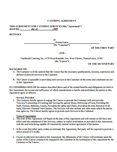 basic catreing service agreement template