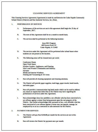 basic cleaning services agreement