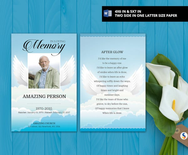basic funeral prayer card